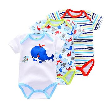 Baby Boys Rompers Short Sleeve cotton infant Baby girl Jumpsuit Dog whale monkey born Clothes