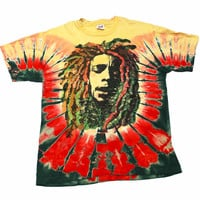 Vintage 90s Tie Dye Bob Marley Shirt Made in USA Mens Size Large