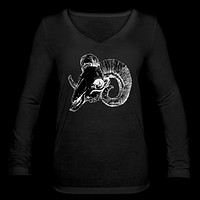 Ram Skull Women's Long Sleeve  V-Neck Flowy Tee