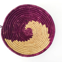 African Coil Basket / Native Wave, Spiral Design / Rustic Southwestern Decor / Unique Storage / Handmade Banana Leaf Vessel / Uganda