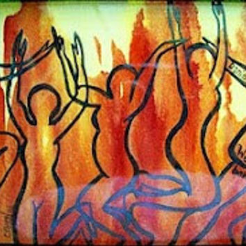 """Abstract Art Print, Christian Art,  Digital Art Print, Colorful Pring, Flames, Dancers - """"We Will Not Bow"""""""