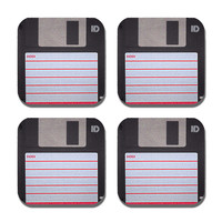Floppy Disc Coaster Neoprene Fabric 4 Piece Set