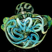 Slyme Brain - Ultra Thick Clear Glass Spoon Bowl with Bright Neon Green Slime Designs and Marble Accents - USA Borosilicate Smoking Pipe
