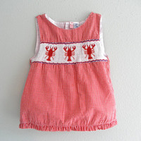 Red Smocked Baby Toddler Dress Crawfish Embroidered Gingham Size 2 Vintage Children Clothing Gently Used Louisiana Crawfish New Orleans Baby