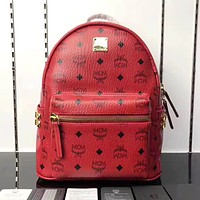 MCM Tide brand men and women classic print side rivet backpack Red