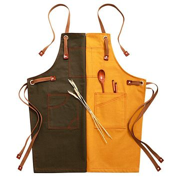 100% Cotton Denim Apron For Adults - Yellow and Green