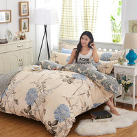 bedding sets 4pcs duvet cover set Europe style plant flower stripes twin full queen single double size free shipping