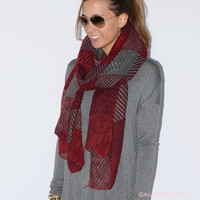 Prep School Dropout Red & Burgundy Plaid Scarves