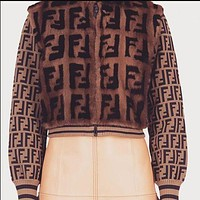 FENDI Autumn Winter Classic New Fasdhion Women Personality Mohair F Jacquard Half High Collar Zipper Keep Warm Jacket Coat Cardigan