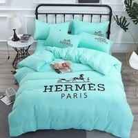 Fashion Mint Green HERMES Blanket Quilt coverlet Pillow shams 4 PC Bedding Set