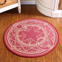 Sakura Kinomoto Sakura Round Style Decoration Fluffy Rugs Anti-Skid Shaggy Area Home Bedroom Carpet Floor Mat