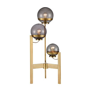 South Water 3-Light Table Lamp in Antique Brass and Smoked Glass