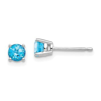 14k White Gold 4mm Genuine Blue Topaz Round Stud Earrings