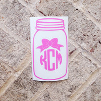 Mason Jar Bow Vinyl Personalized Monogram Decal Sticker - Circle Monogram - DIY - car window, laptop, cell phone, mason jars, car decal