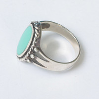 Turquoise Lucite and Sterling Ring Rope Edging Signed CW Size 7 Vintage