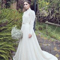 Vintage High Neck Wedding Dresses Chiffon A-Line Court Train Bridal Gowns Lace Applique