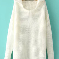 White Hooded Long Sleeve Knit Sweater
