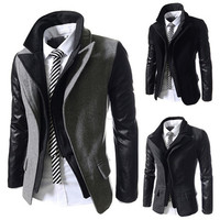 Double Layer Blazer with Leather Sleeves
