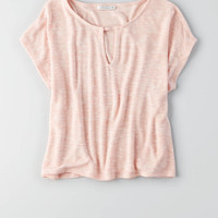 AEO Feather Light Keyhole T-Shirt, Pink