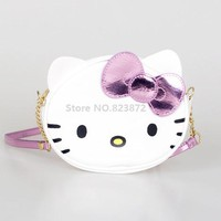 Cute Hello Kitty Cat Mini PU Crossbody Bags Baby Kids Small Shoulder Messenger Bag for Girls Children Coin Purse Wallet