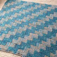 Newborn Baby Boy Blanket Knit Blue and White Baby Blanket mitered squares hand made blanket