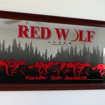 RED WOLF LAGER BEER HUGE 52x26 WOOD FRAMED MIRROR COLLECTIBLE LOCAL PICK UP ONLY