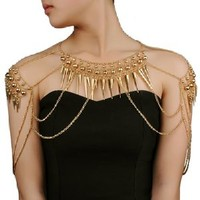 Vintage Gold Tone Punk Spike Rivet Gothic Armor Shoulder Body Chain Harness Necklace