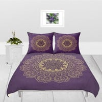 Duvet Cover - 3 different sizes to Choose From, Without Inserts, Bedroom, Home decor, Romantic, Gift, Purple, Gold, Mandala