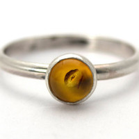 Sterling Silver and Amber Stacking Ring