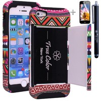 Rugged High Impact Aztec Tribal Ethnic Credit Card Holder Wallet Soft + Hard Hybrid Combo Case Cover for Apple iPhone 5 5s + Stylus + Screen Protector - Black