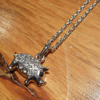 Silver Rhinestone Pig Necklace   Candy's Cottage