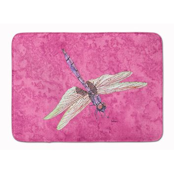 Dragonfly on Pink Machine Washable Memory Foam Mat 8891RUG