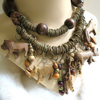 Vintage Long Necklace or Belt Ethnic Tribal Metal Beads and Carved Wood African Safari Animals