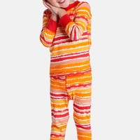 Infant Girl's Masalababy 'Painterly Stripes' Organic Cotton Two-Piece Fitted Pajamas