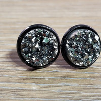 Druzy earrings- Gunmetal drusy Black stud druzy earrings