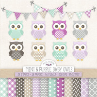 SALE. Owl Clipart. Baby Shower, Nursery Clip Art & Digital Paper. Mint, Purple, Gray, Lavender Backgrounds. Cute Baby Owls, Banners in Grey.