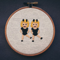 Dancers embroidered emoji