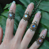 midi ring SET 4 knuckle rings SALE armor rings nail rings claw rings gothic rings victorian moon goddess ring boho rings festival jewelry