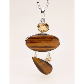 Tiger Eye and Citrine Pendant Necklace - One of a Kind