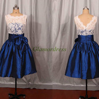 white lace and navy blue taffeta bridesmaid dresses simple cute bridesmaid gowns with bow cheap knee length dress for wedding party