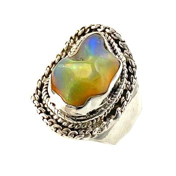 Ethiopian Opal Rough Sterling Silver Ring