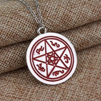 Supernatural Witch Protection Star Amulet Necklace Pentacle Pentagram Pendants Chain Necklaces