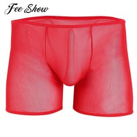 New Arrival Men Lingerie Mesh See-through Boxer Shorts Comfortable Underpants Gay Mens Lingerie Stretchy Elastic Waistband Boxer