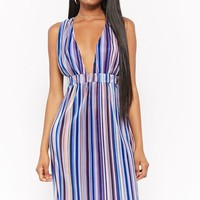 Striped Micro-Pleated Dress
