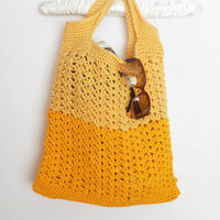 Crochet Reusable Beach or Shopping Tote in Two Tone Lemon and Marigold, ready to ship.