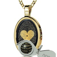 """Love Necklace Inscribed with I Love You in 120 Languages in 24k Gold on Onyx Pendant, 18"""" - NanoStyle Jewelry"""