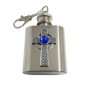 Textured Large Celtic Cross with Blue Center 1 Oz. Stainless Steel Key Chain Flask
