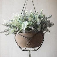 Wire Macramé Hanging Planter with Grey Clay Bowl