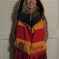 Harry Potter Gryffindor and Slytherin Hooded Scarf by batgirl93