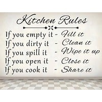 Kitchen Rules Wall Decal, Vinyl Wall Decal, Kitchen Decor Decal Sticker